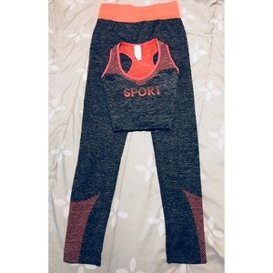 Other - NWOT gray and pink workout set